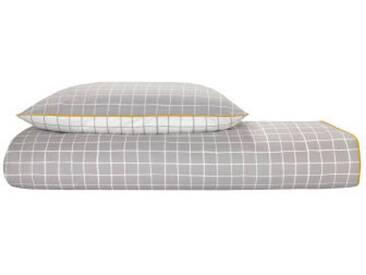 Ludo 100 % Baumwolle Bettwaescheset (155 x 220 cm), Grau und Weiss DE
