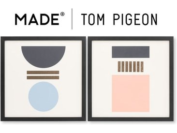 2 x Assembly Tom Pigeon mit Rahmen (40 x 40), Blau, Rosa und Gold