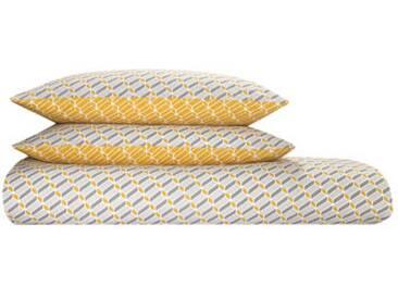 Prism 100 % Baumwolle Bettwaescheset (240 x 220 cm), Senfgelb und Grau DE