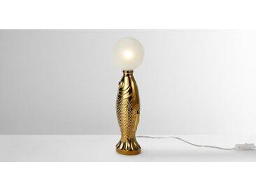 Gold Fish Tischlampe, Gold und Milchglas