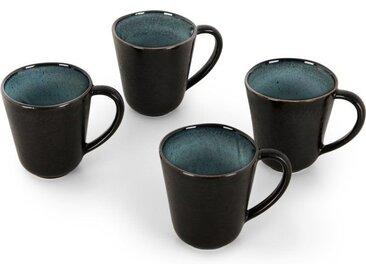 Krisha 4 x Tassen, Tuerkis und Anthrazit