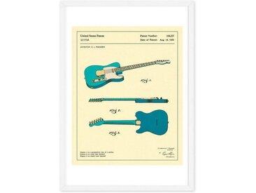 Guitar 3 von Jazzberry Blau, gerahmter Kunstdruck (48 x 65 cm),