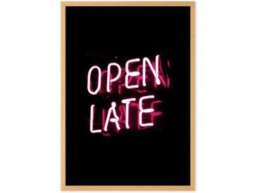 Open Late Neon Typography gerahmter Kunstdruck (A2), Schwarz und Rosa