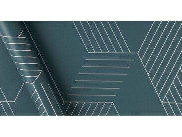 Pascal Geo Tapete, 10 m Rolle, Aegaeisblau und Silber