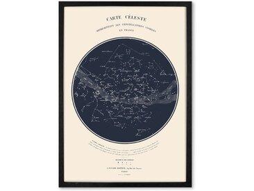 Celestial Carte du Ciel, gerahmter Kunstdruck (A1), Dunkelblau