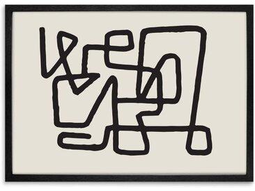 Abstract Knot, gerahmter Kunstdruck in Schwarz und Creme