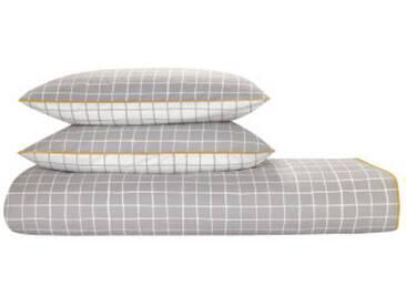 Ludo 100 % Baumwolle Bettwaescheset (240 x 220 cm), Grau und Weiss FR