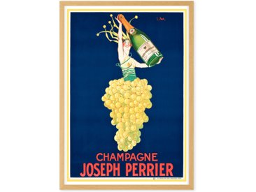 Champagne Vintage Drinks Framed A1 Wall Art Print, Multi