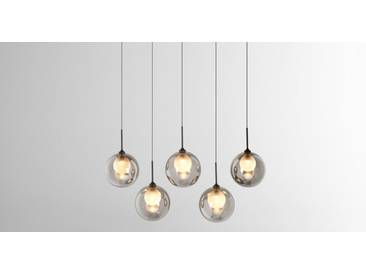 LED Design Pendel Lampe Rauch Glas Strahler ALU Decken Hänge Lampe schwarz klar
