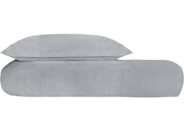 Waffle 100 % Baumwolle Bettwaescheset (155 x 220 cm), Perlgrau DE