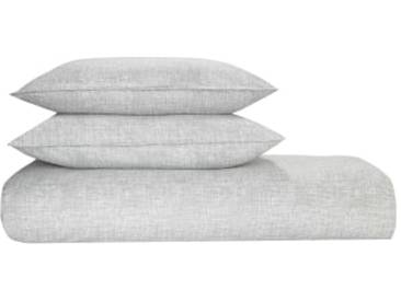 Fleck 100 % Baumwolle Bettwaescheset (200 x 200 cm), Grau FR