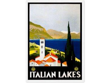 Italian Lakes Vintage Travel, gerahmter Kunstdruck (A1), Mehrfarbig