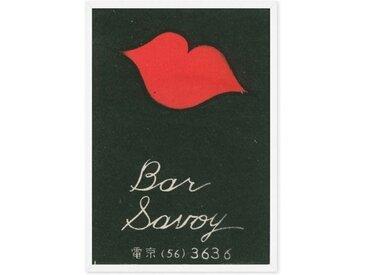 Vintage Bar Savoy gerahmter Kunstdruck (A1), Marineblau und Rot