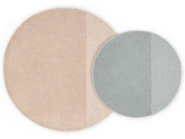 2 x Ronda runde Teppiche, Zartrosa und Grau