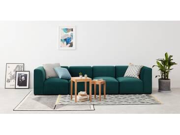 Juno modulares Sofa, Samt in Meerblau