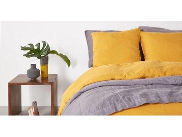 Brisa 100 % Leinen Bettwaescheset (155 x 220 cm), Gelb