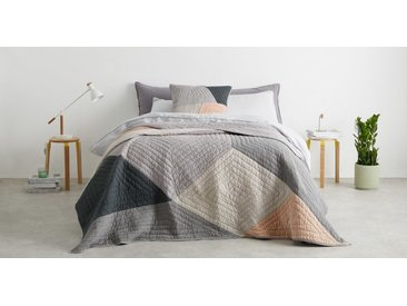 Bloco Patchwork Bedspread, Pink & Grey