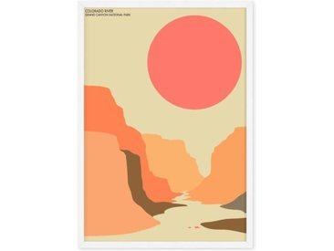 Grand Canyon Landscape Tavel Poster, gerahmter Kunstdruck (A1), Mehrfarbig