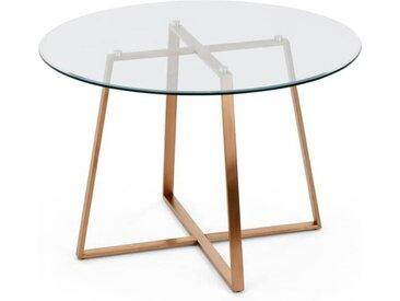 Haku grosser runder Esstisch, Kupfer und Glas
