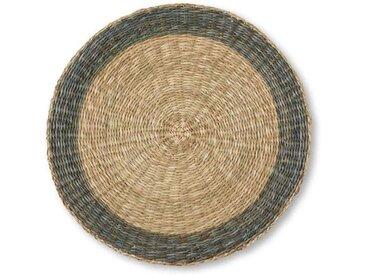 Topki 4 x runde Tischsets, Natur und Grau