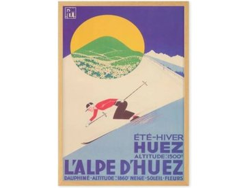 L'Alpe D'Huez Vintage Skiing Travel Framed A1 Wall Art Print, Multi