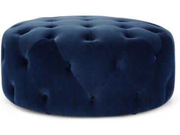 Hampton runder Polsterhocker (95 cm), Samt in Cyanblau