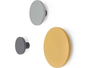 MADE Essentials 3 x Apartment Wandhaken, Grau und Senfgelb