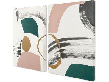 2 x Lia Kunstdrucke von Rebecca Hoyes (A 2), Rosa, Blaugruen und Senfgelb