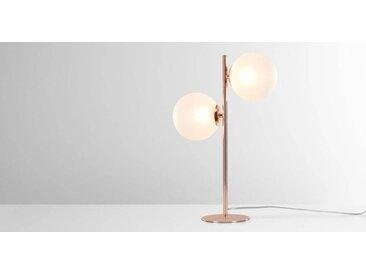 Globe Tischlampe, Kupfer und Milchglas
