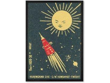Rocket Vintage Space, gerahmter Kunstdruck (A1), Schwarz und Marinerot