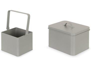 2 x MADE Essentials Borg Aufbewahrungsbox, Grau