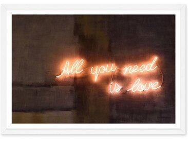 All You Need Is Love Neon Typography, gerahmter Kunstdruck (65 x 90 cm), Mehrfarbig