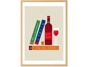 Wine und Books I vini d'italia gerahmter Kunstdruck (verschiedene Groessen erhaeltlich), Mehrfarbig