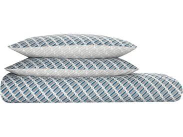 Prism 100 % Baumwolle Bettwaescheset (200 x 200 cm), Blaugruen und Grau DE