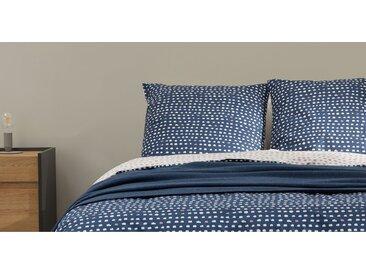 MADE Essentials Uxi Bettwaescheset (135 x 200 cm) aus 100 % Baumwolle, Nachtblau und Rot