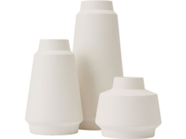 Hoa Set aus 3 kleinen Vasen, Mattweiss