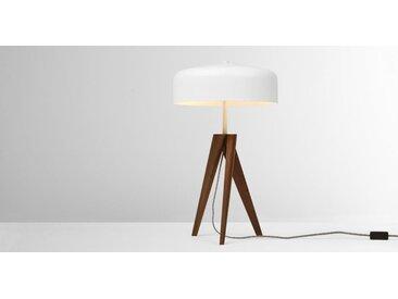 Madison Tischlampe, dunkles Holz und Weiss