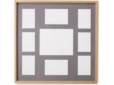 Portland 9-teiliger Bilderrahmen 58 x 58 cm, Eiche mit grauem Passepartout
