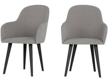 2 x Stig Armlehnenstuehle mit hohem Ruecken, Manhattangrau und Schwarz