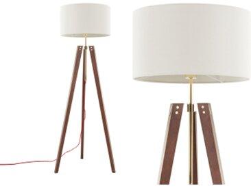 Irvin Tripod-Stehlampe, dunkles Holz und Weiss