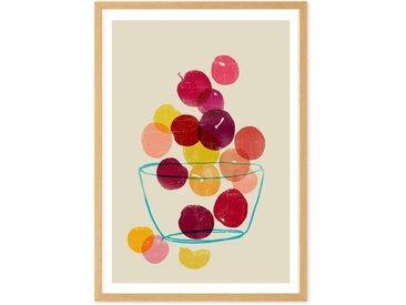Illustrated Fruit Bowl, gerahmter Kundstdruck (A2), Mehrfarbig
