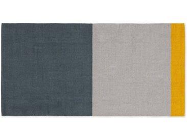 Colourblock grosse Badematte aus 100 % Baumwolle, Grau und Senfgelb