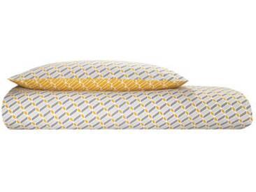 Prism 100 % Baumwolle Bettwaescheset (155 x 220 cm), Senfgelb und Grau DE