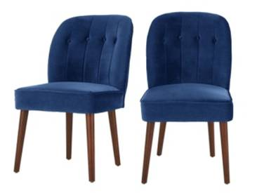 2 x Margot Polsterstuehle, Samt in Cyanblau
