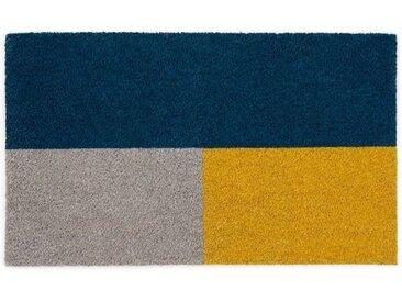 Elkan Fussmatte (45 x 75 cm), Blau und Gelb
