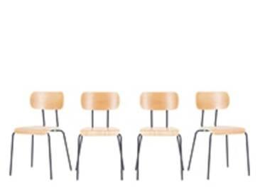 4 x Haywood Esszimmerstuehle, Esche und Grau