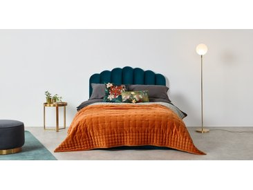 Syrah 100% Cotton Velvet Bedspread. 225x220cm, Burnt Orange