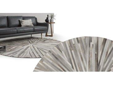 Halo runder Kuhfell Teppich (180 cm), Grautoene