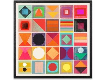 Awake Geometric Abstract Multicoloured, gerahmter Kunstdruck (50 x 50 cm), Mehrfarbig
