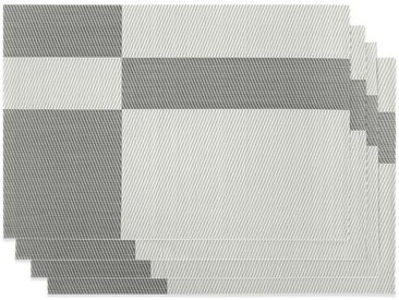 Britta 4 x Tischsets, Grau und Weiss